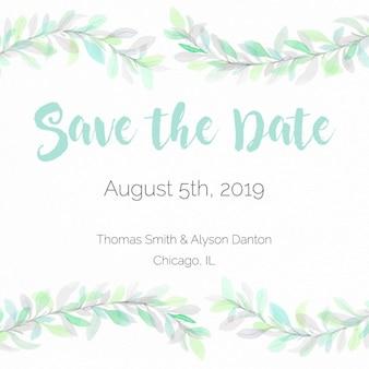 Pastellgrün Aquarell retten die Datumskarte