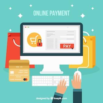 Pay online, flache Stil