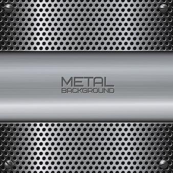 Perforierter Metallhintergrund mit Schrauben