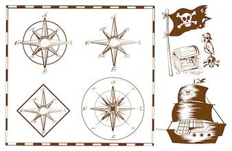 Piratenschiff und andere Symbole