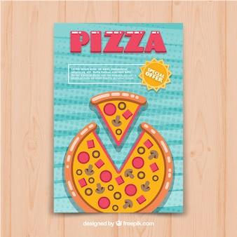 Pizza-Broschüre im flachen Design