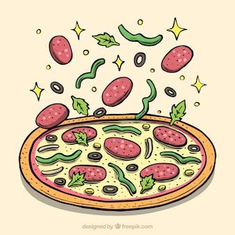 Pizza Hintergrund mit leckeren Zutaten