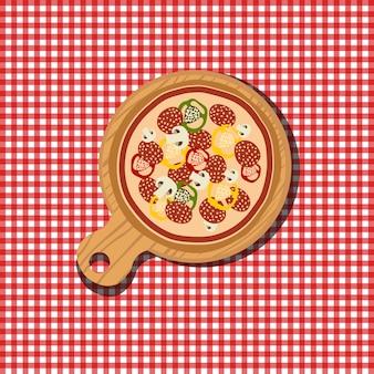 Pizza Illustration auf rotem und weißem Hintergrund