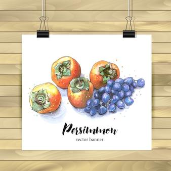 Plakatdekoration aus dem Inneren von persimmons