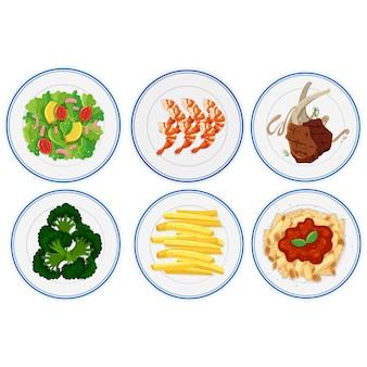 Platten von Lebensmitteln Sammlung