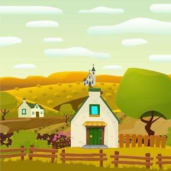 Platz Frühjahr Dorf Landschaft Vektor-Cartoon-Illustration