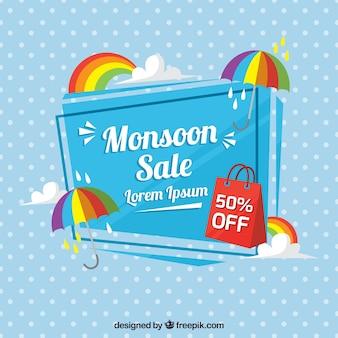 Polka Dot Hintergrund mit Monsun Verkauf Regenschirm