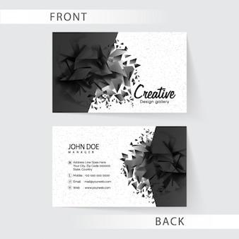 Polygonal Visitenkarte in schwarzen Tönen
