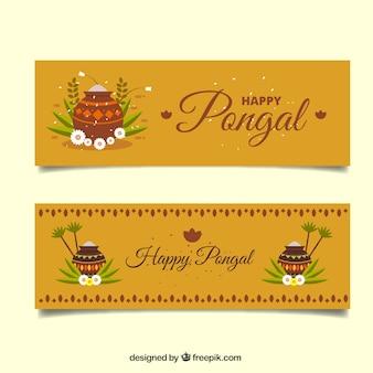 Pongal Banner mit Blumen und Töpfe