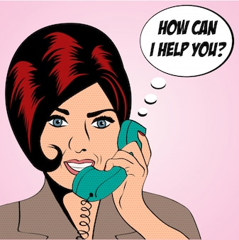 Pop Art Frau Chat am Telefon