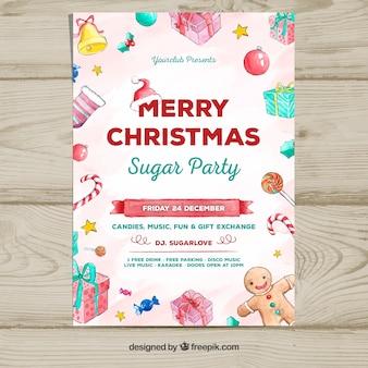 Poster mit Aquarell-Elementen von Weihnachten