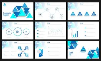 Präsentationsvorlagen mit Infografiken und abstraktem Design.