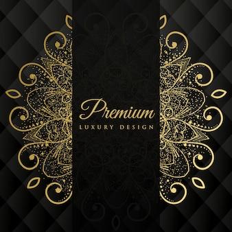 Premium ornamanetal Mandala Design Hintergrund mit Glitzer-Effekt