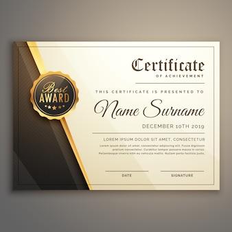 Premium-Zertifikat Design Vektor Vorlage