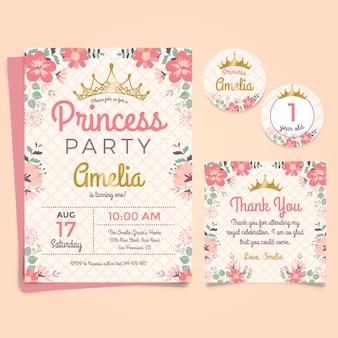 Prinzessin Geburtstags-Einladung mit Krone und Blumen