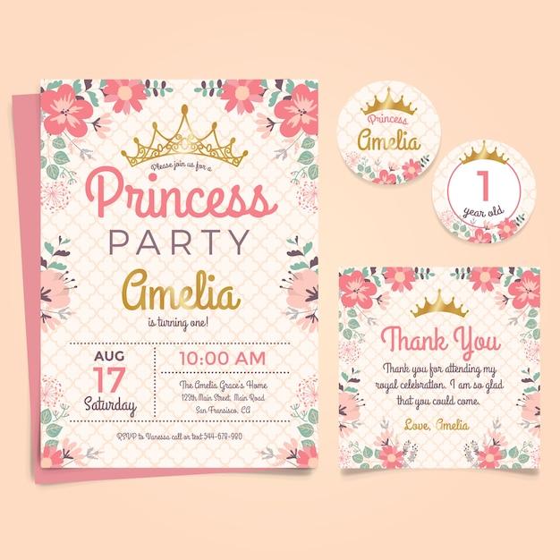 Prinzessin Geburtstags Einladung Mit Krone Und Blumen