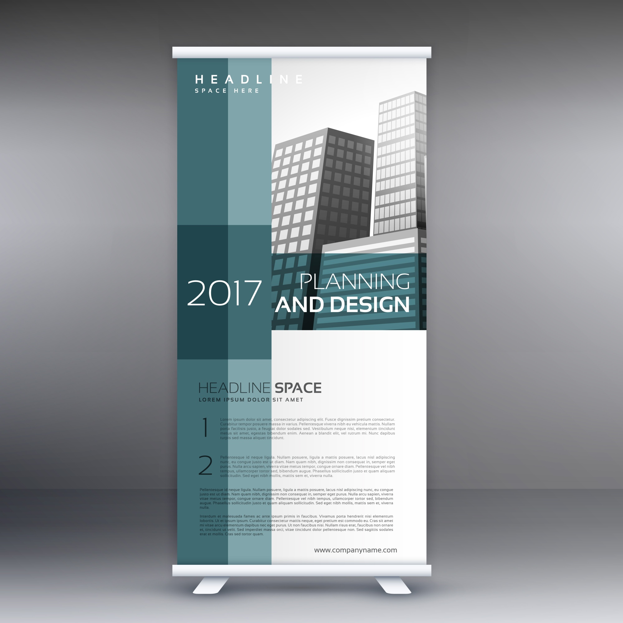 Professionelle Roll up Standby Banner Vektor-Design-Vorlage