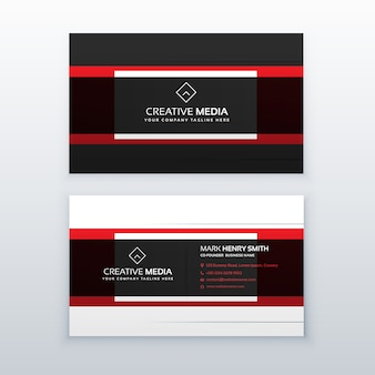 Professionelle rote und schwarze Visitenkarte Design Vektor