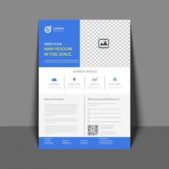 Professioneller Flyer in Blue Color, Firmenbroschüre, Geschäftsbericht und Cover Design Vorlage für Ihr Unternehmen.
