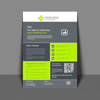 Professioneller Flyer in grüner und grauer Farbe, Firmenbroschüre, Geschäftsbericht und Cover Design Vorlage für Ihr Unternehmen.