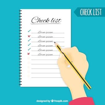 Prüfliste Hintergrund mit der Hand hält einen Bleistift