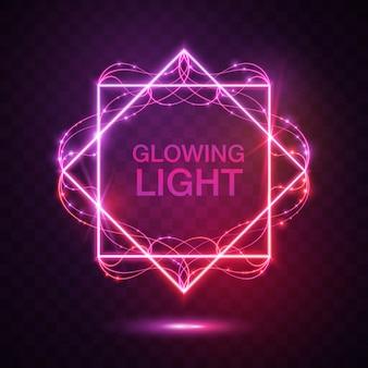Quadrat mit rosa leuchtenden Lichter