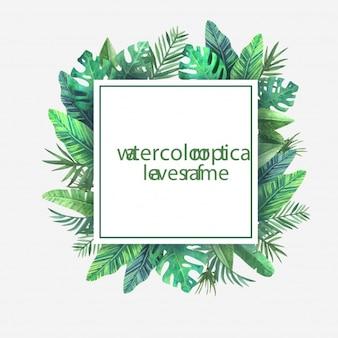 Quadratischer Rahmen mit Aquarell tropischen Blättern