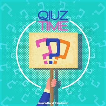 Quiz Hintergrund mit der Hand mit einem Schild