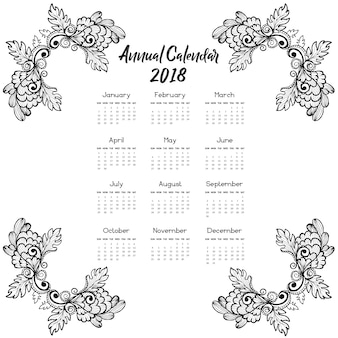 """""""Hand gezeichneter Blumenkalender 2018"""""""