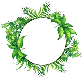 Rahmenschablone mit grünen Blättern