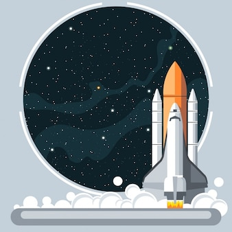Rakete und Raumfenster
