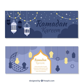 Ramadan kareem Banner mit dekorativen Gegenständen