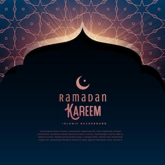 Ramadan kareem festival gruß mit moschertür und islamischem muster