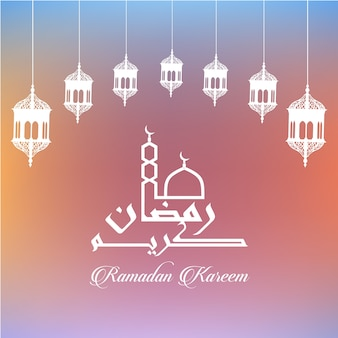 Ramadan Kareem schöne Grußkarte mit arabischer Kalligraphie mit masjid Kuppel und Minarett mit Lattern, was bedeutet, Ramadan Kareem