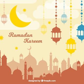 Ramadan Kareem Stadt Hintergrund