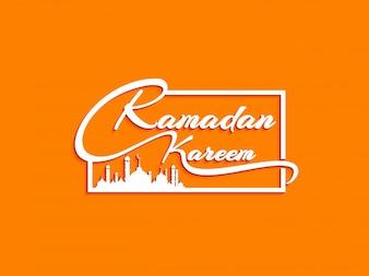 Ramadan Kareem stilvoller Textentwurfshintergrund