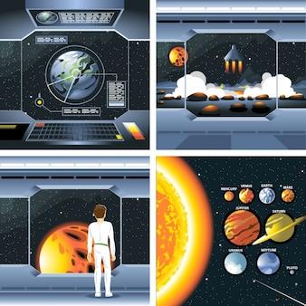 Raumschiff und Planeten