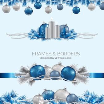 Realistic Blau und Silber Weihnachtsränder