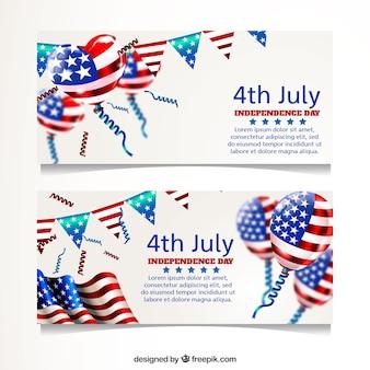 Realistische Banner für USA Unabhängigkeitstag