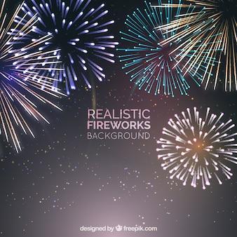 Realistische Feuerwerk Hintergrund
