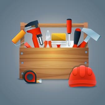Realistische Hintergrund mit Werkzeugen