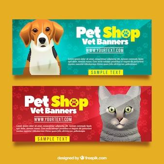 Realistische Sammlung von Banner mit Tieren