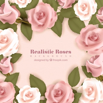 Realistischer Hintergrund mit rosa Rosen
