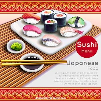 Realistischer Hintergrund mit Stäbchen und Sushi