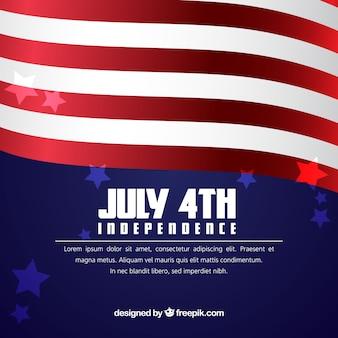 Realistischer Hintergrund mit wellenförmiger amerikanischer Flagge