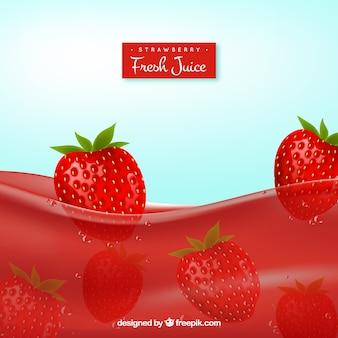 Realistischer Hintergrund von Erdbeersaft