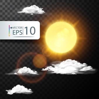 Realistischer Vektor Sonne und Wolke