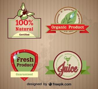 Reihe von frischen Bio-Labels