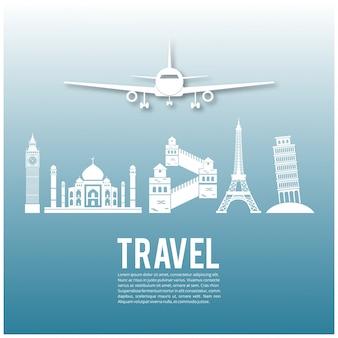 Reise-Infografik Wahrzeichen und Transport