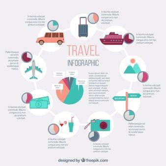 Reise-Infografiken mit Transport und anderen Elementen